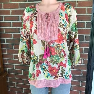 Investments sheer  floral shirt blouse size medium